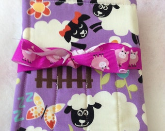 Handmade Crayon/ Pencil Travel Case Holder, holds crayons and paper, purple, sheep, flowers, pigs, toddler, kid