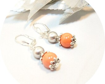 Earrings, Coral and Gray, Coral and Silver, Bridal Jewelry, Bridesmaid Earrings,  Dangle Earrings, Bridesmaid Jewelry