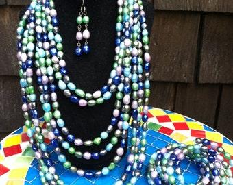 Dagwan Designs Peacock Freshwater Pearl Set