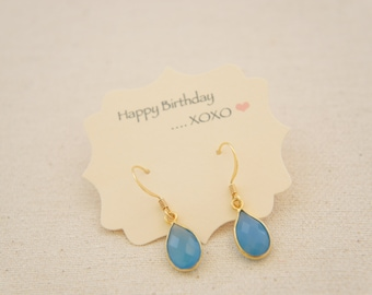 Blue chalcedony gold vermeil earrings