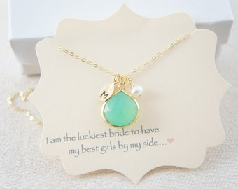 Green chrysoprase necklace with personalized leaf and a pearl, wedding, bridesmaid, gift, layered necklace