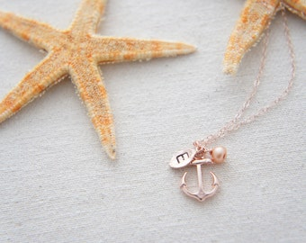 Personalized rose gold anchor necklace with rose gold color pearl, tiny leaf, casual, gift, bridesmaid gift, birthday, layered necklace