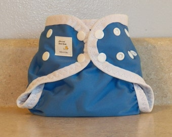 Preemie Newborn PUL Diaper Cover with Leg Gussets- 4 to 9 pounds- Cornflower Blue with White Accents- 20014