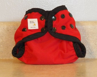 Preemie Newborn PUL Diaper Cover with Leg Gussets- 4 to 9 pounds- Red with Black Accents- 20009