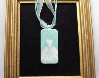 Hand Painted Wedding Dress on a Domino Necklace