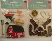COWBOY BARN HORSE Jolee's 3d supplies stickers - boots, rope, bones, stars Texas