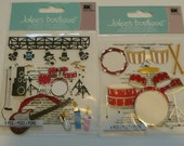 BAND CONCERT & PERCUSSION Jolee's Boutique Scrapbooking Supplies stickers - Drum Set, guitar, music, Congos