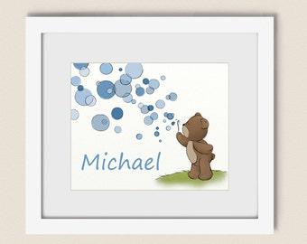 8 x 10 Blue Boys Room Art Print, Personalized Childrens Wall Art, Teddy Bear Blowing Bubbles Nursery Wall Decor ( 259)