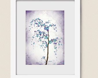 Purple Aqua Wall Art Tree Print 5 x 7 Home Decor, Willow Tree Wall Decor Nature Art Print (113)