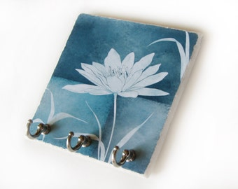 3 hook Decorative Tile Key Holder, Blue Wall Decor, Lotus Flower Key Rack, Organizer Jewelry, Key Hook  (59)
