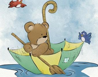 5 x 7 Artwork for Nursery Room Decor, Cute Childrens Art Print, Teddy Bear Babys Room Wall Art (174)