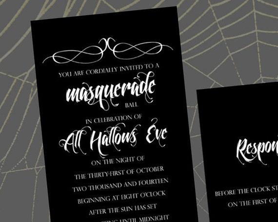 Masquerade Wedding Invitations: Items Similar To All Hallows Eve Masquerade Ball