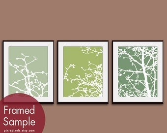 Cherry Blossom Tree Branches (Series C) Set of 3 - Art Prints (Featured in Thyme, Basil and Veranda) Nature Woodland Inspired