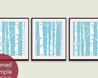 White Birch Tree Branches - Set of 3 - Art Prints (Featured in Maliblu) Nature Woodland Inspired
