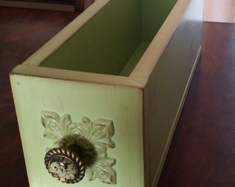 Decorative wood storage box apple green