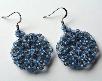 Smoky Gray Blue Beaded Earrings Dark Silver Gunmetal Earwire Montana Blue Grey