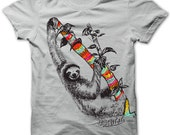 Sloth by Chill Clothing on Cotton T in Silver