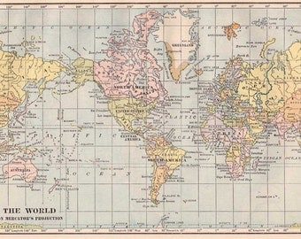 World map printable  digital download high resolution.  Originally issued in  1930s.  Printable blue and pink pastel color  vintage style.