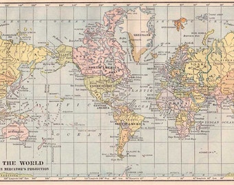 World map printable  digital download high resolution.  Originally issued in  1930s.  Printable pastel color image vintage style.