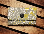 Canvas Wallet - Gray Floral Pattern with Turquoise and Black Lining