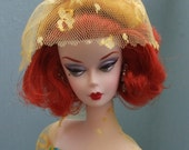 sunshine gold velvet structured hat with bow and matching net.