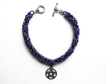 Pentagram bracelet, Pagan jewelry, Wiccan bracelet, Purple and black chainmaille