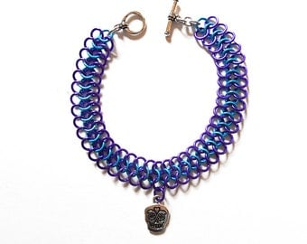 Day of the Dead bracelet, Sugar skull bracelet, Dia de los Muertos jewelry, Turquoise and purple chainmaille
