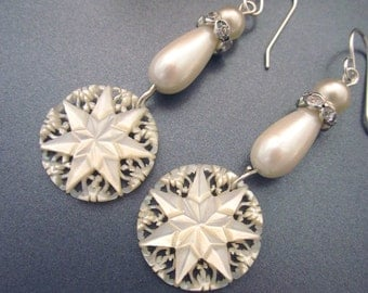 Carved Mother of Pearl Earrings Bridal Jewelry Vintage Assemblage Earrings MOP