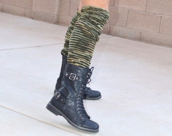 Knit leg warmers camouflage gift for her