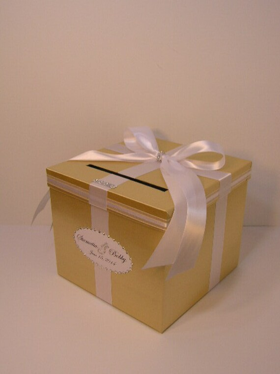 Wedding Gift Card Box Canada : Gold and White Wedding Card Box Gift Card Box Money Box Holder ...
