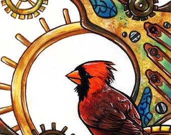 Clockwork Cardinal | Bird Art | Steampunk Art | Animal Art | 8x10