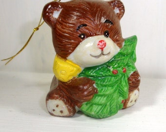 Vintage Christmas Ornament, Ceramic Brown Bear with Christmas Tree, Holiday Decor  (399-14)