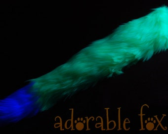 Faux Fur Fox Tail - Neon Green - BLACKLIGHT REACTIVE - Cosplay / Furry / Costume