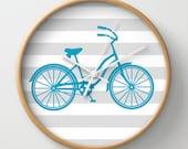 Turquoise Beach Cruiser Wall Clock 10 inch Diameter Gray and White Stripes