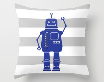Robot 1 Blue Gray and White Stripes Throw Pillow Cover Case 16X16 or 18x18 Or 20x20 Hidden Zipper