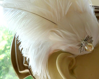 Bridal Feather Fascinator With Swarovski Crystals Pearl Insect Beetle Cabochon Light Ivory and Blush