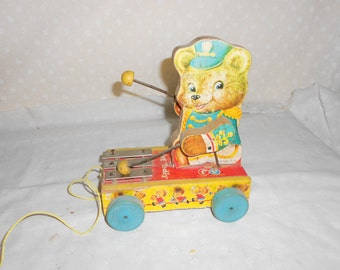 Fisher PriceTiny Teddy  Wood pull Toy