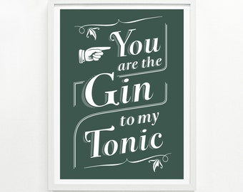 Gin and Tonic Handprinted Poster, 12 x 16 - Pick Your Color