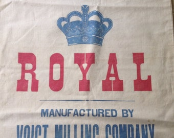 Vintage grain sack ROYAL crown