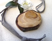 Wooden Pendant with Suede Cord - Rustic Spruce Wood Necklace - Great Gift Idea for the Wood Lover