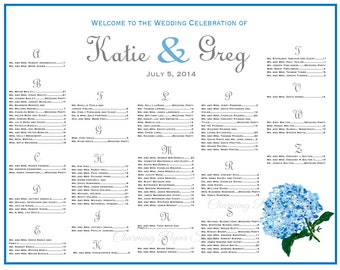Wedding seating chart hydrangea wedding table assignments for Bridal shower seating chart template