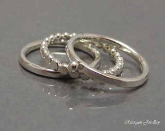 Three Sterling Silver Stacking Rings, Hammered Silver Rings, Handmade by RiverGum Jewellery, MADE TO ORDER
