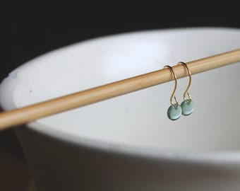 Donacarney Fern Green Tiny Czech Glass Lentil Earrings on Gold Wire - Available in Custom Colors for your Wedding