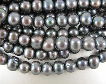 Deep Black Pearls, Large Hole Pearls,12-13mm,  Freshwater, Roundish Oval, Oblong Pearls, 2.5 mm drill, Five Pearls (P042)