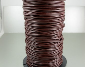 Premium Greek Leather Cord, Bordeaux Reddish Brown, 1.9mm, 2 yards (6 feet)