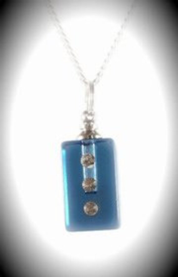 "Blue Crystal CREMATION URN with 3 Jewels on 24"" Silver Necklace  -   with Velvet Pouch and Mini Funnel"