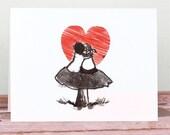 Art Print, Instant download, Valentine card, Valentine gift, Love Card, Download printable, Wall Decor, Illustration, Ink Drawing, red heart