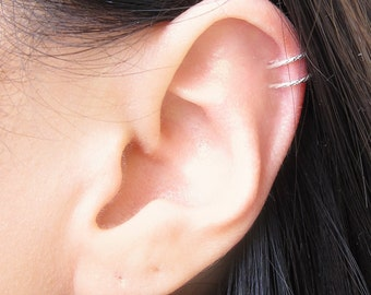 Sterling Silver Glittered Two Ring Ear Cuff