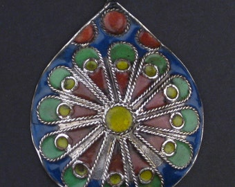 Floral Medallion Enameled Berber Pendant - African  Pendant - Jewelry Making Supplies - Made in Morocco ** (PND-BRB-104)
