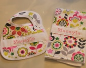 2 Piece Personalized Baby Girl  Pink Green & Grey Floral Print Waterproof Bib/Burpie Set-Other fabrics also available